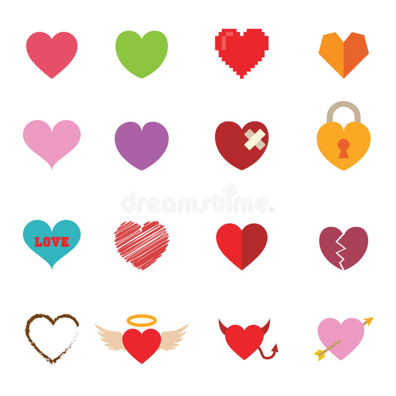 Colorful valentine heart icons stock illustration
