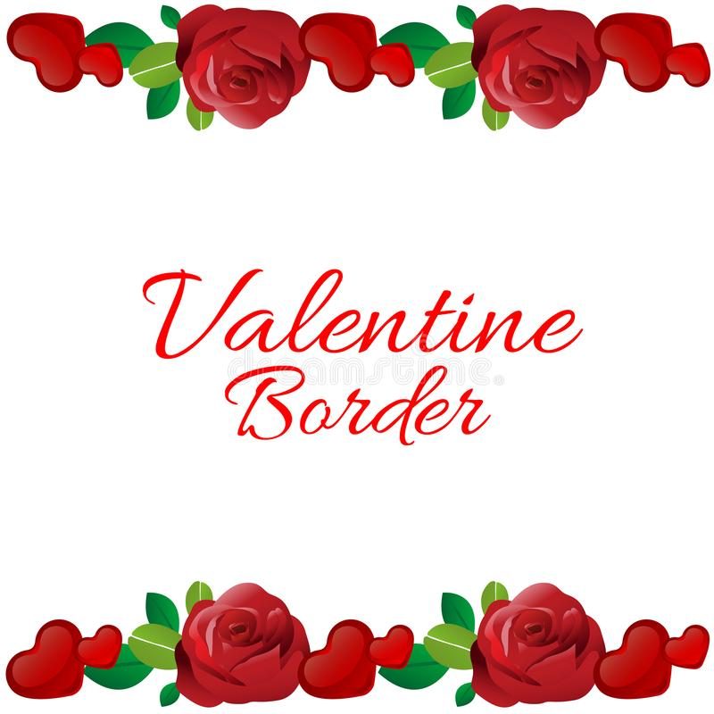 Colorful valentine horizontal border with red rose and love. Valentine horizontal border with red rose and love stock illustration