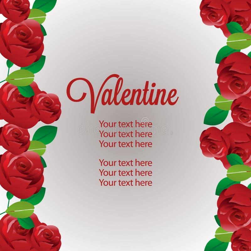 Colorful valentine vertical border template red rose decoration. Valentine vertical border template red rose decoration stock illustration