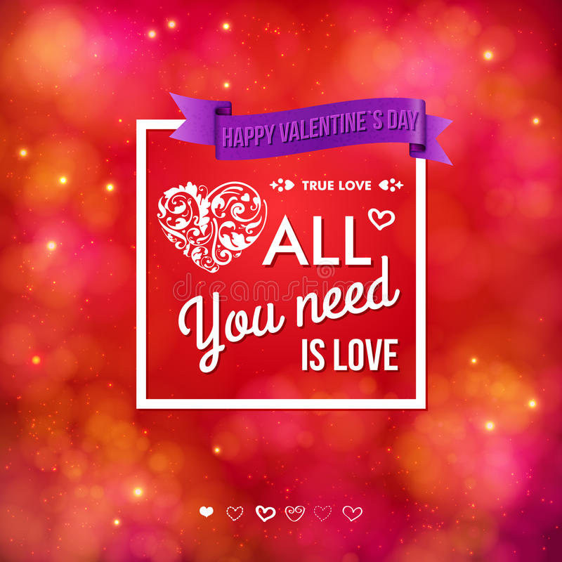 Colorful Valentines Day card design stock illustration