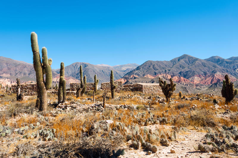 Colorful valley Humahuaca, central Andes Altiplano stock photography