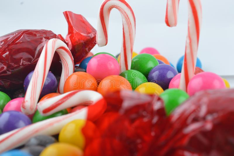 Colorful and varied sweet candy stock photography