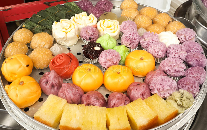 The colorful variety of chinese-style pastries royalty free stock photography