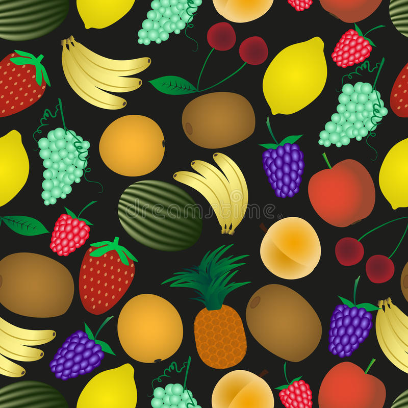 Colorful various fruit summer seamless dark pattern vector illustration