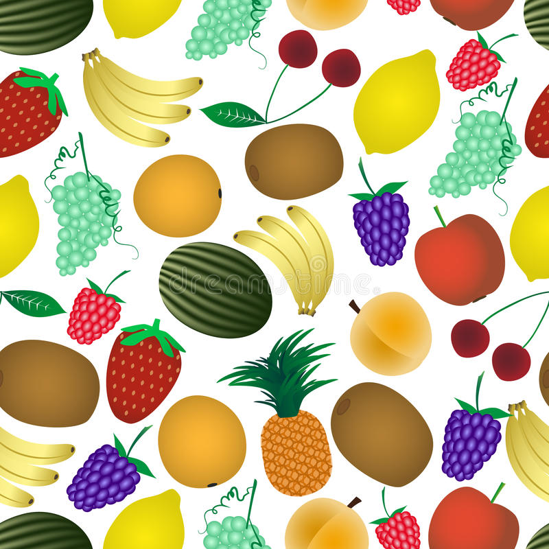 Colorful various fruit summer seamless pattern eps10 stock illustration