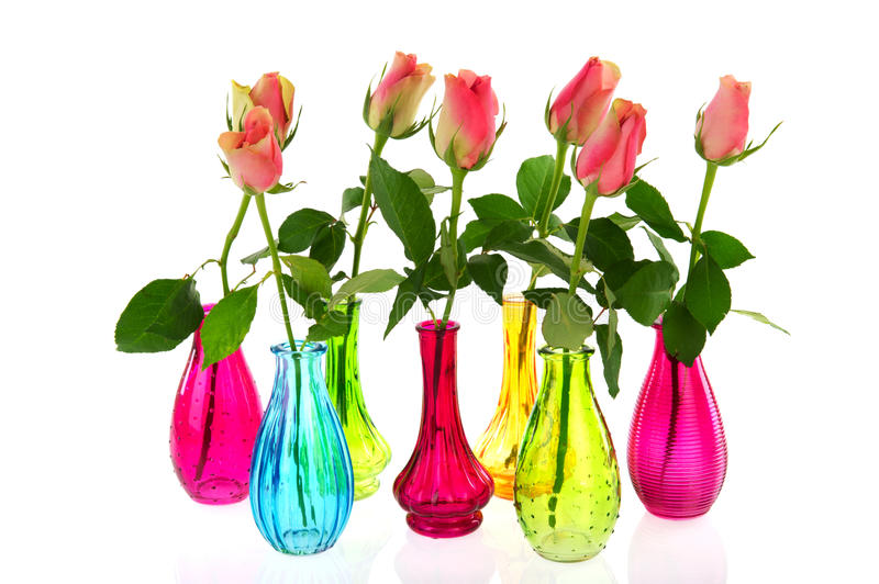 Download Colorful Vases With Pink Roses Stock Image - Image: 18093409