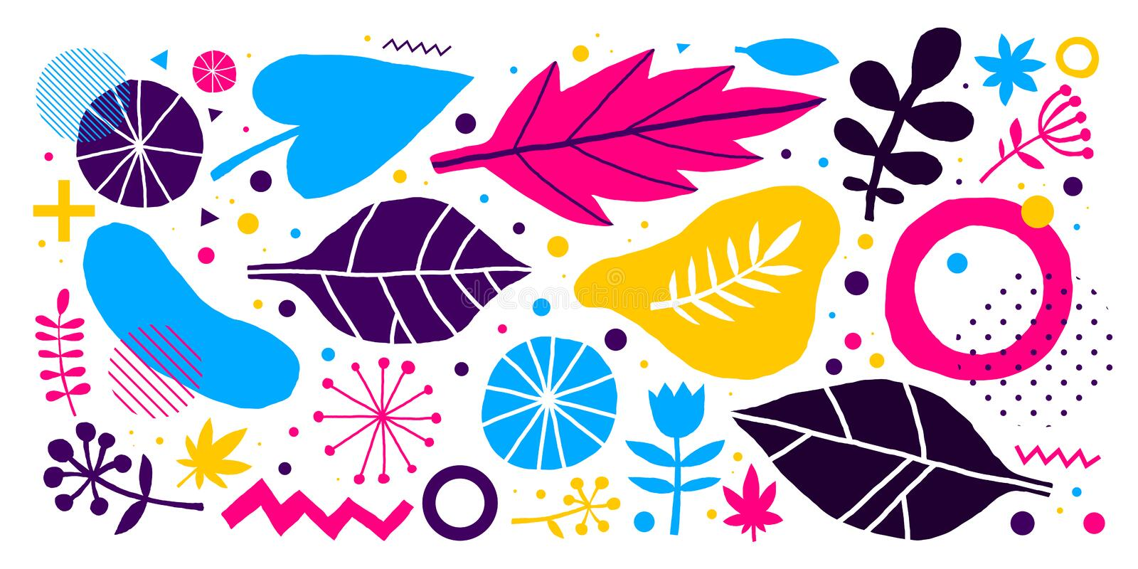 Colorful vector background with hand drawn floral elements. Can be used for advertising, web design and printed media. vector illustration