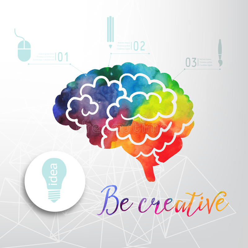 Colorful vector brain icon, banner and business icon. Watercolor creative concept. Vector concept - creativity and brain. royalty free illustration