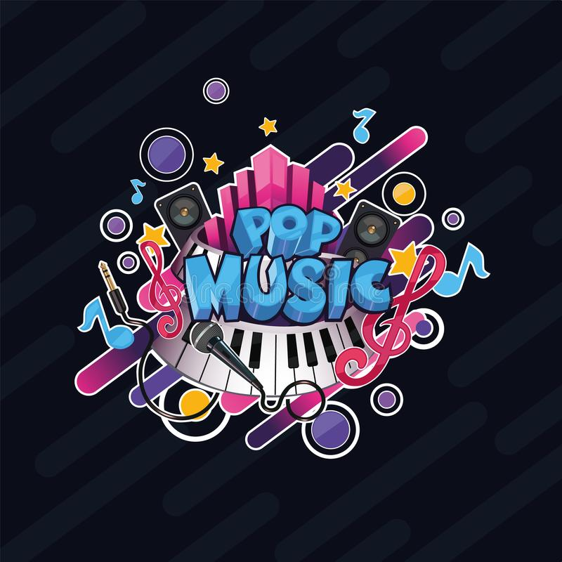 Colorful vector detailed Pop music illustration royalty free illustration