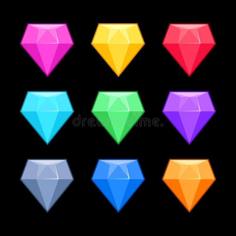 Colorful vector diamonds isolated black, game elements stock illustration