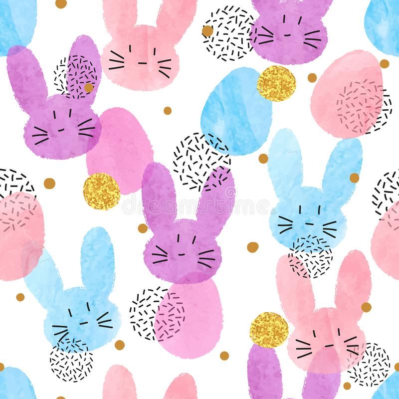 Colorful vector Easter pattern with watercolor bunnies and eggs. vector illustration