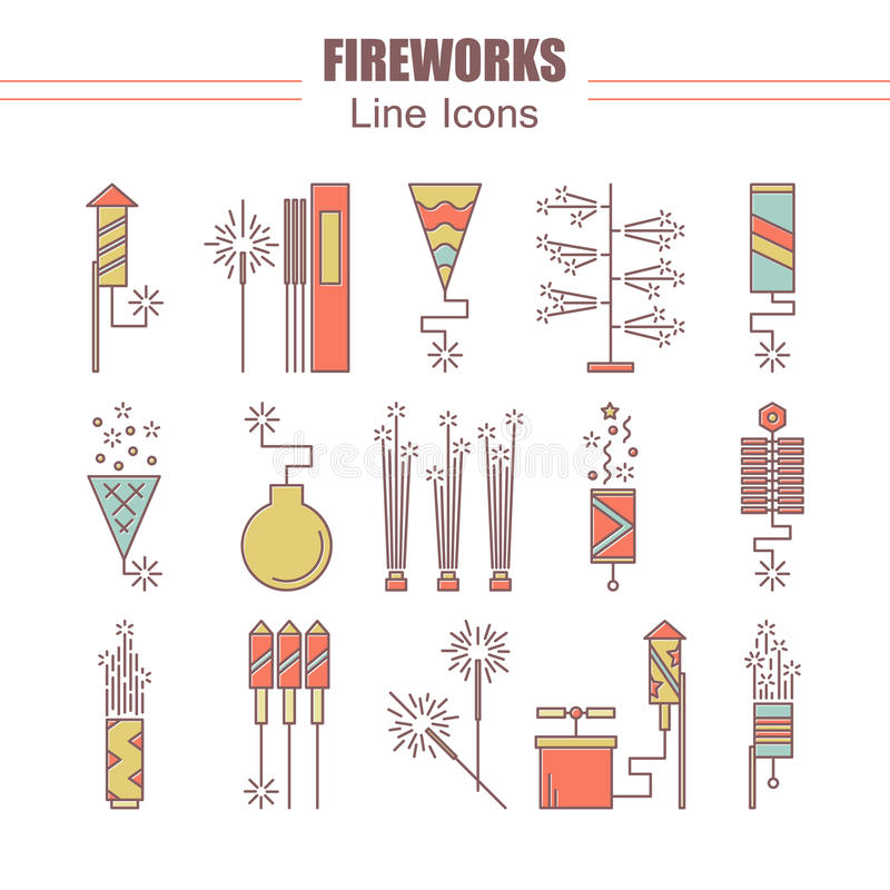 Colorful vector fireworks icons. Festival or party elements. Line carnival illustration. Firecracker set. Entertainment vector illustration