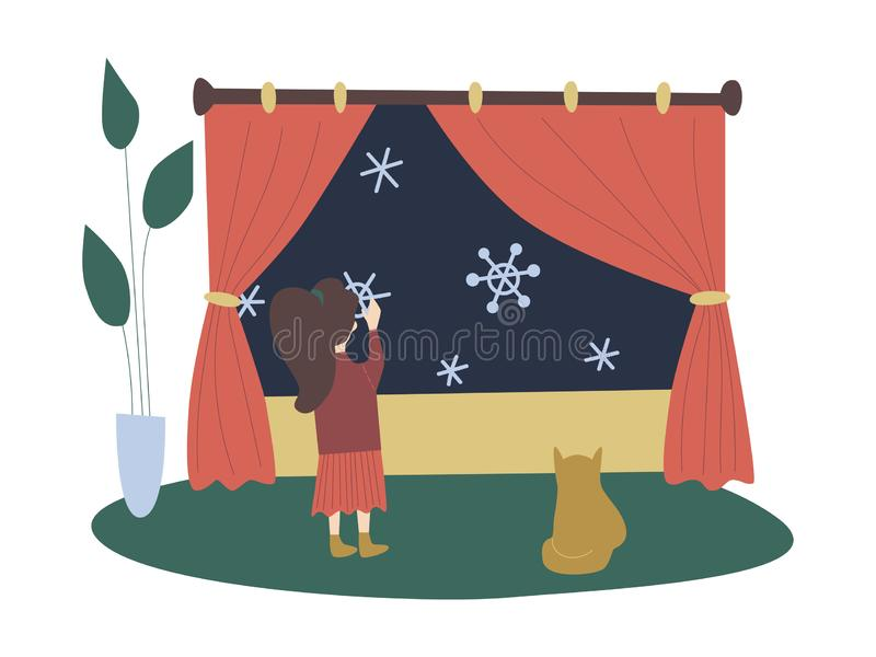 Colorful vector flat cartoon christmas illustration with festive christmas decorations, girl putting up fake snowflakes, cat. stock illustration