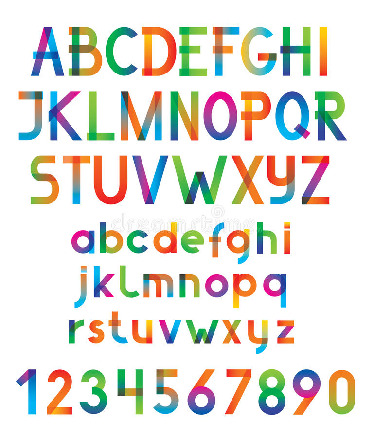 Colorful vector font and numbers. vector illustration