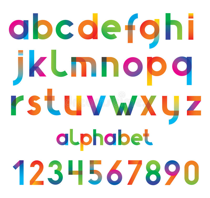 Colorful vector font and numbers. stock illustration