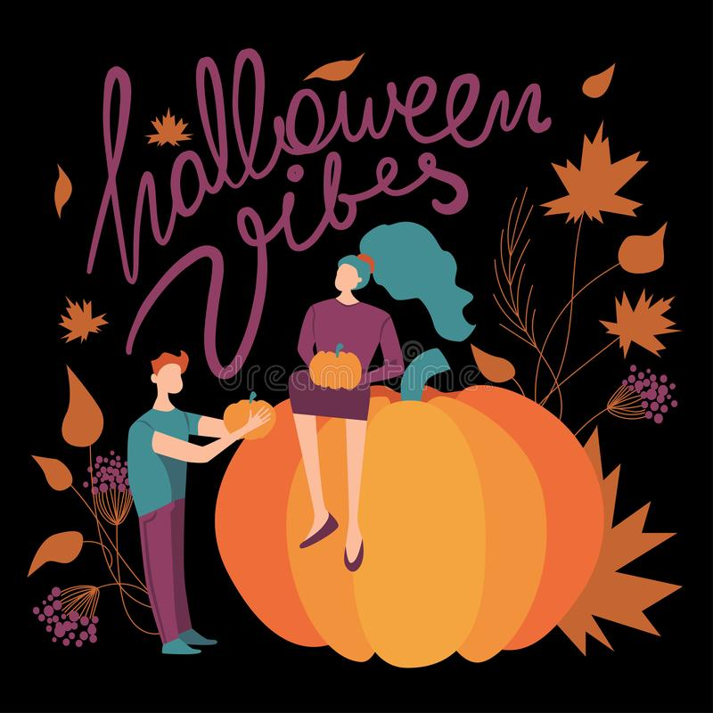 Colorful vector halloween vibes illustration. purple, green, orange and black vector illustration