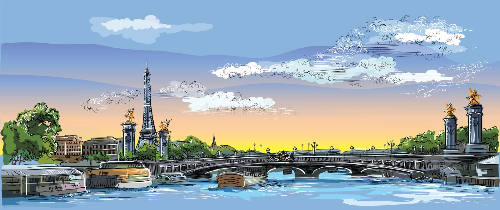 Colorful vector hand drawing Paris 4. Colorful vector hand drawing Illustration of Eiffel Tower, landmark of Paris, France. Panoramic cityscape with Eiffel Tower vector illustration