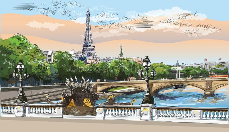 Colorful vector hand drawing Paris 8. Colorful vector hand drawing Illustration of Eiffel Tower, landmark of Paris, France. Panoramic cityscape with Eiffel Tower vector illustration