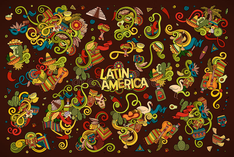 Colorful Vector Hand Drawn Doodle Latin American Objects Stock