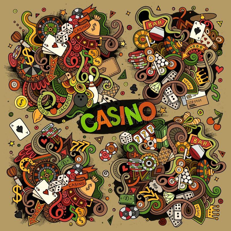 Colorful vector hand drawn doodles cartoon set of Casino designs. Colorful vector hand drawn doodles cartoon set of Casino objects and symbols royalty free illustration