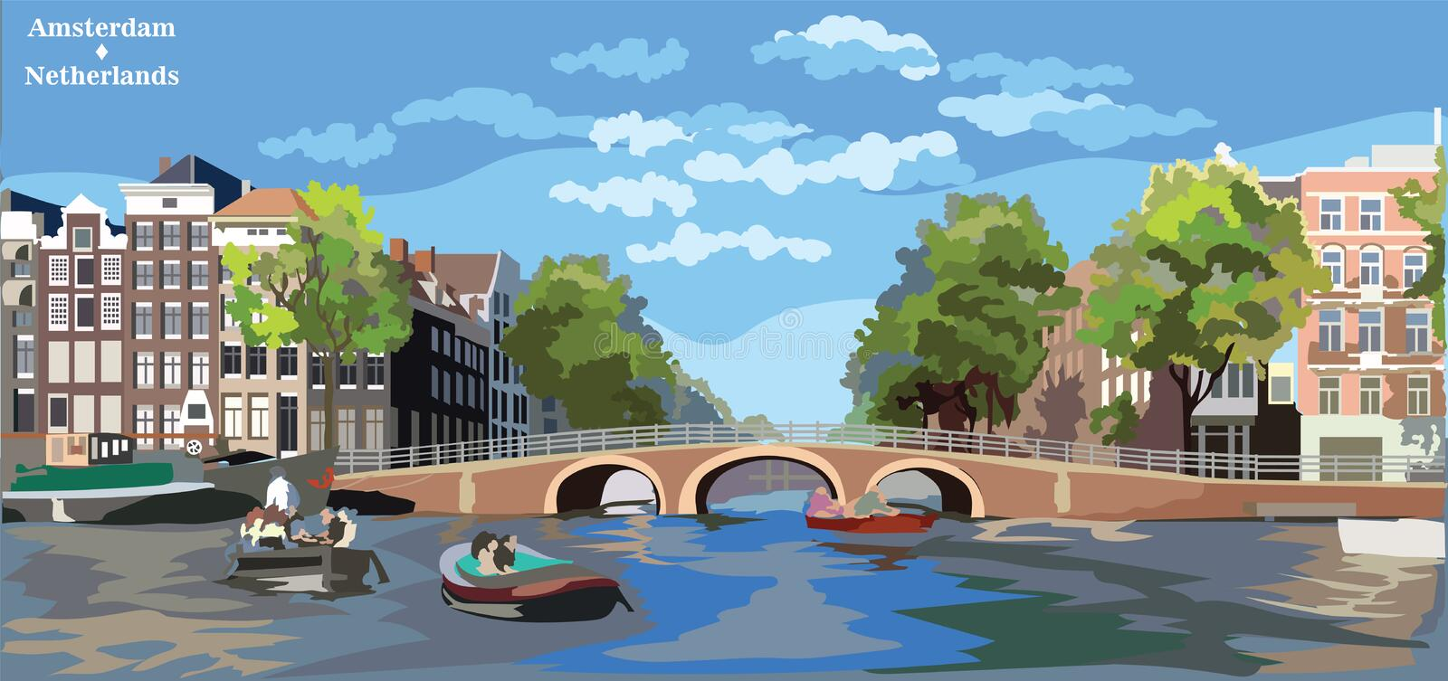 Colorful vector Holland 10. Cityscape with bridge over the canals of Amsterdam, Netherlands. Landmark of Netherlands. Colorful vector illustration vector illustration