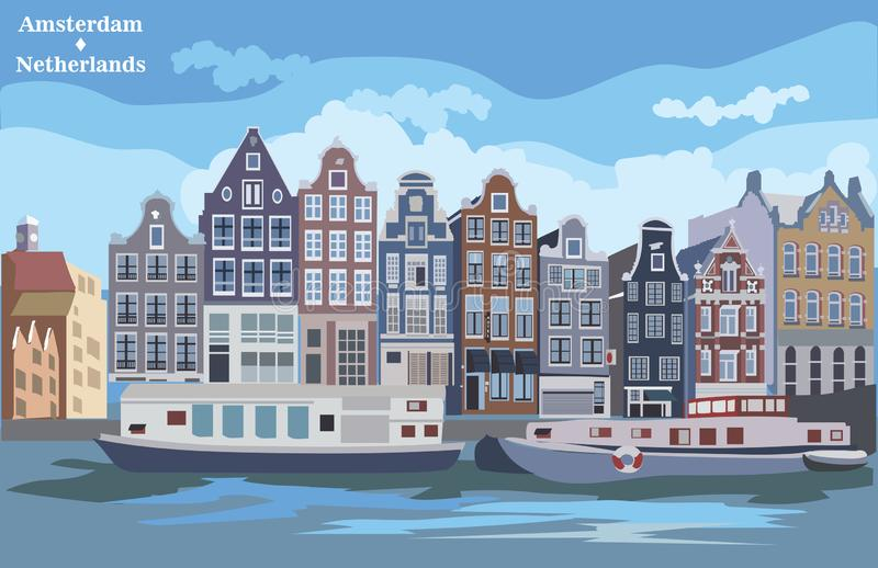 Colorful vector Holland 7. Cityscape with houses on riverbank. Canal of Amsterdam, Netherlands. Landmark of Netherlands. Colorful vector illustration stock illustration