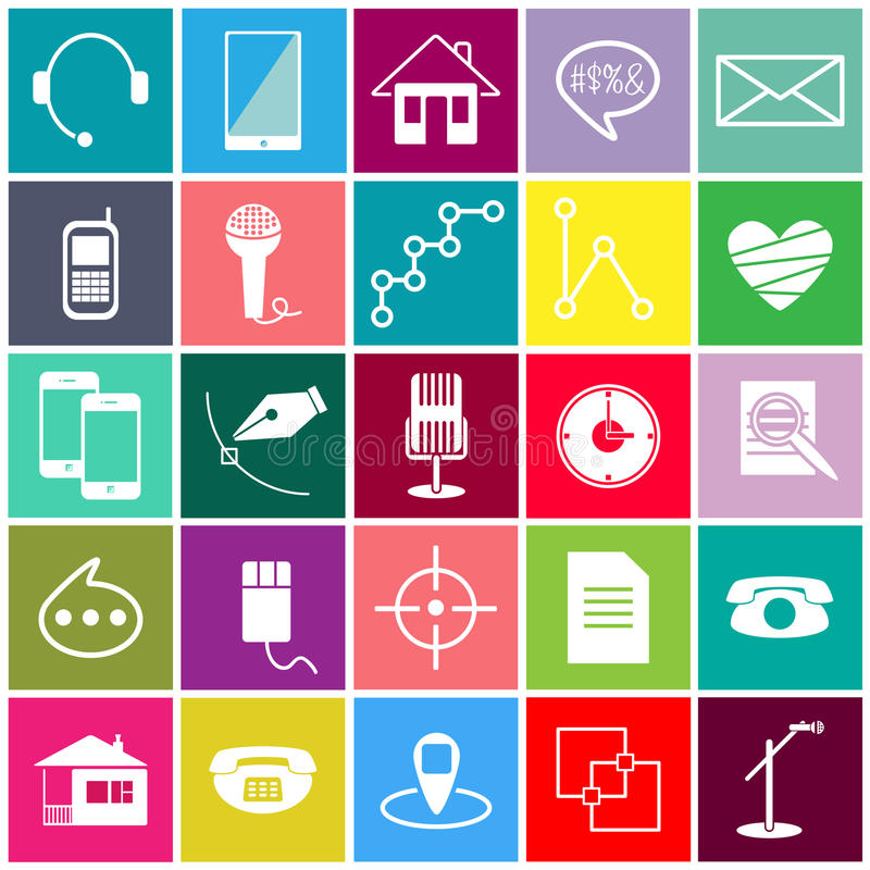 Colorful vector icons royalty free stock photo