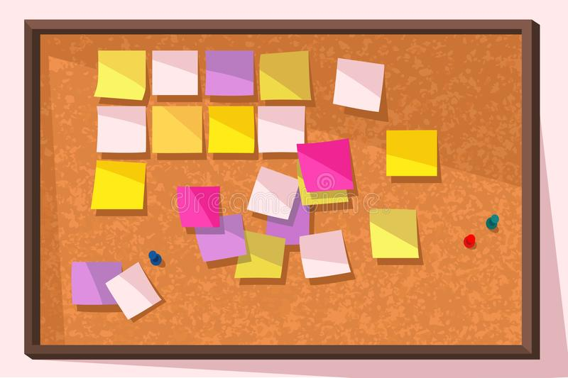 Post-it Note Bulletin Board. Colorful vector illustration of cork bulletin board with blank post-it notes stock illustration