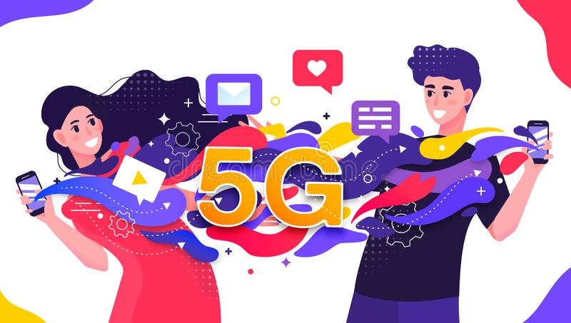 Colorful vector illustration depicting a 5G cellular network with two happy young people fast streaming dating data vector illustration