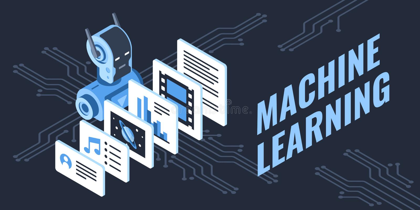 Colorful vector illustration of machine learning process royalty free illustration