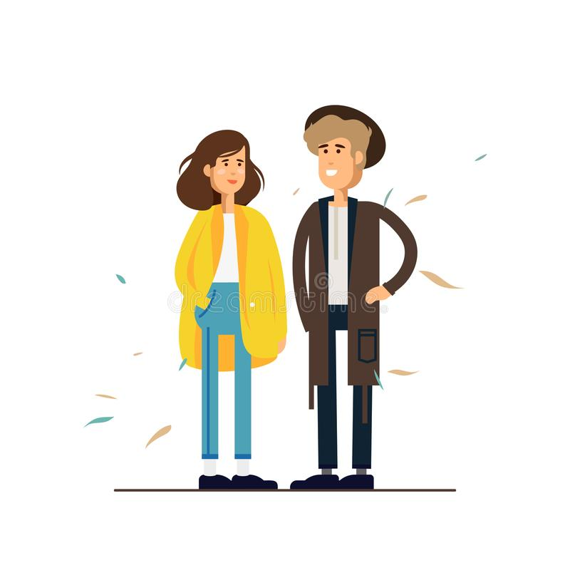 Colorful vector illustration standing happy romantic couple walking together. Flat cartoon hipster characters isolated. On white background. Autumn mood vector illustration