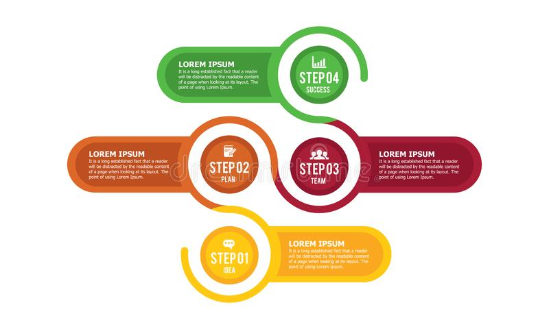 Colorful vector infographic with the steps to success royalty free illustration