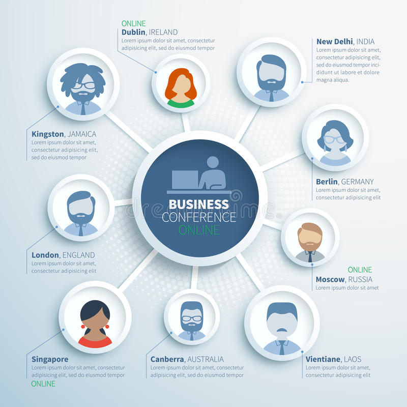 Colorful vector infographics of online business. Conference, communication of partners from different countries vector illustration