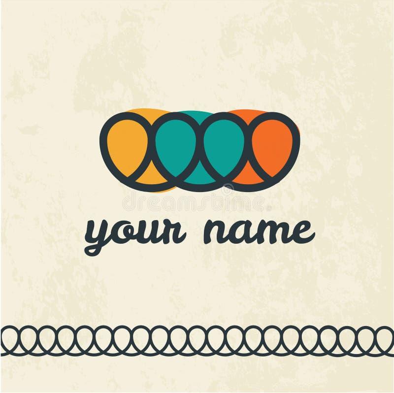 Colorful vector logo design template. Pretzels or heart shape. Bakery, pastry-shop logo design. Decorative strip. Orange royalty free illustration