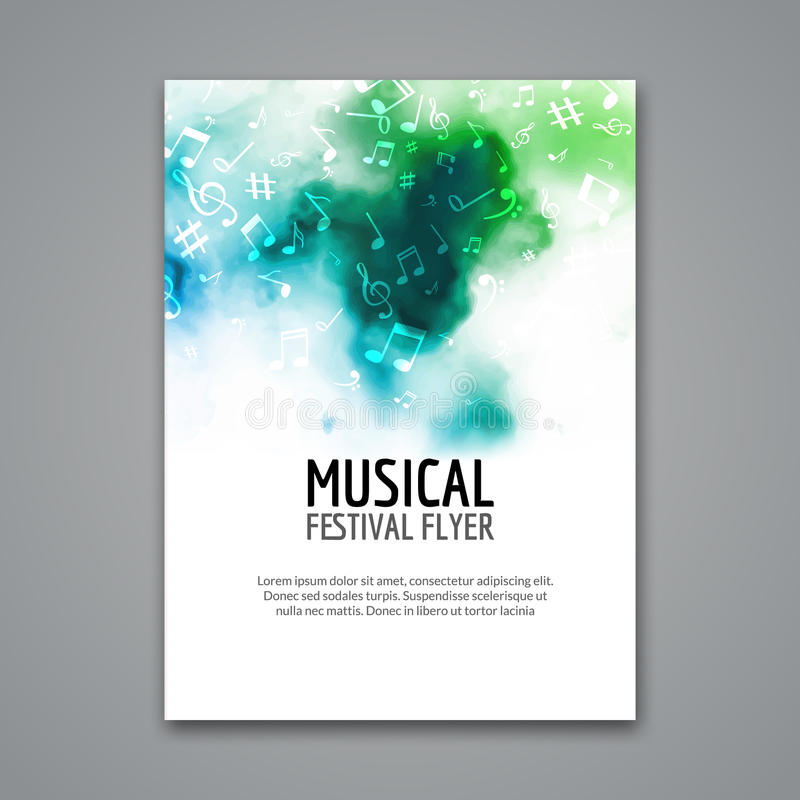Colorful vector music festival concert template flyer. Musical flyer design poster with notes stock illustration