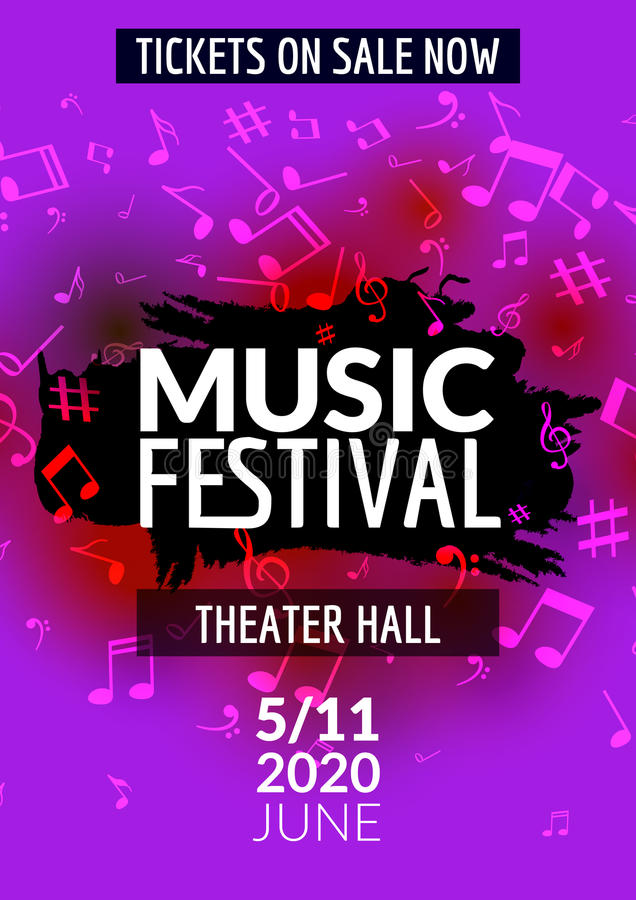 download colorful vector music festival concert template flyer musical flyer design poster with notes stock