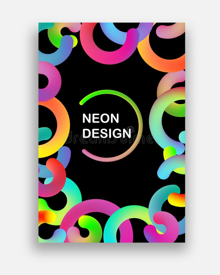 Colorful vector with neon colors. Futuristic abstract design with trendy geometric shapes. vector illustration