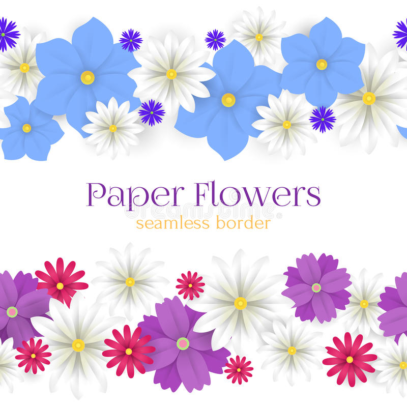 Colorful Vector Paper Flowers Horizontal Seamless Borders ...