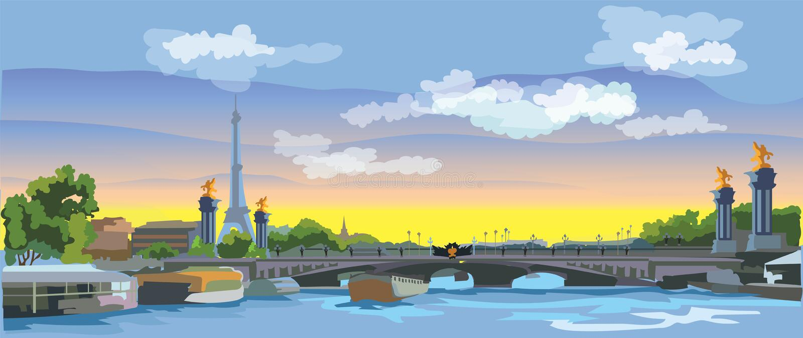 Colorful vector Paris 4. Colorful vector Illustration of Eiffel Tower, landmark of Paris, France. Panoramic cityscape with Eiffel Tower and Pont Alexandre III vector illustration