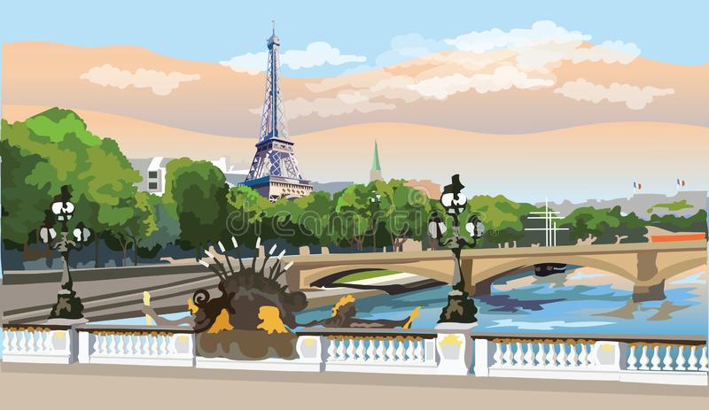 Colorful vector Paris 8. Colorful vector Illustration of Eiffel Tower, landmark of Paris, France. Panoramic cityscape with Eiffel Tower and Pont Alexandre III royalty free illustration