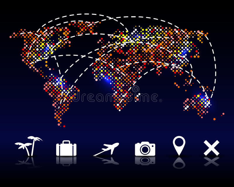 Colorful vector pixel world map with travel icons stock vector download colorful vector pixel world map with travel icons stock vector illustration of colorful gumiabroncs Images
