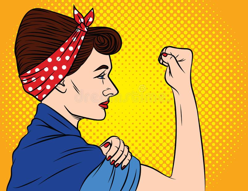Colorful vector poster in the style of pop art about women`s rights. Female feminism, female power. A girl with a bandage on her. Head keeps showing fist. Young stock illustration