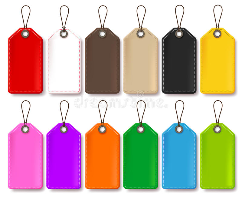 Colorful Vector Price Tags Collection Isolated in White Background royalty free illustration