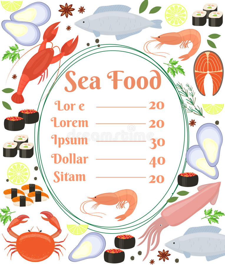 Colorful vector seafood menu poster. With a central frame with text and a shrimp surrounded by fish cuttlefish calamari lobster crab sushi shrimp prawn mussel vector illustration