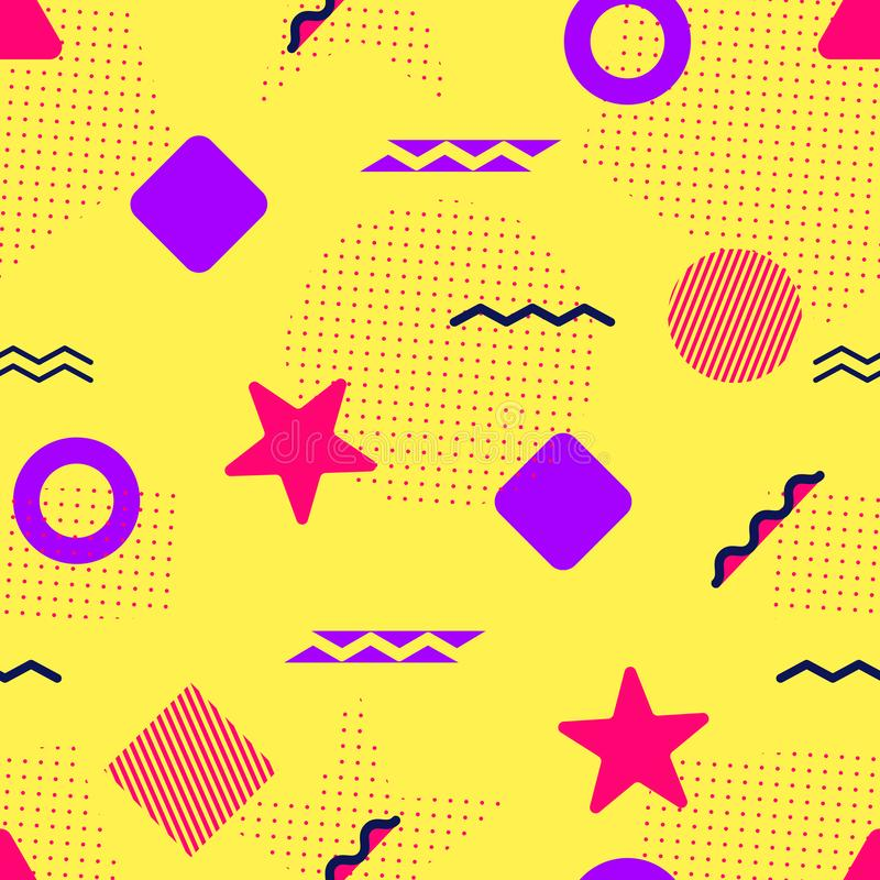 Colorful vector seamless pattern. Memphis geometric shapes. Abstract background in trendy style. Modern repeated texture. Template royalty free illustration