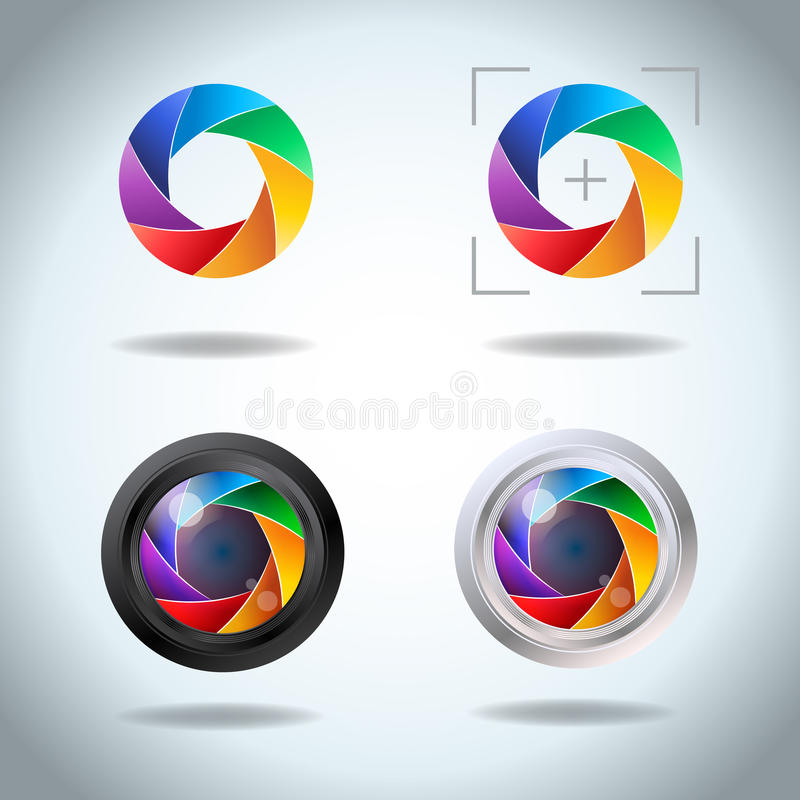 Colorful vector set of lens aperture. Diaphragm of a photo camera shutter spectrum icon set. Side exposed aperture blades.  stock illustration