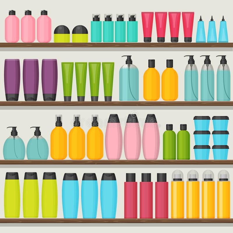 Colorful vector shop shelves with cosmetic bottles. Set for beauty and cleanser, skin and body care. Flat design royalty free illustration