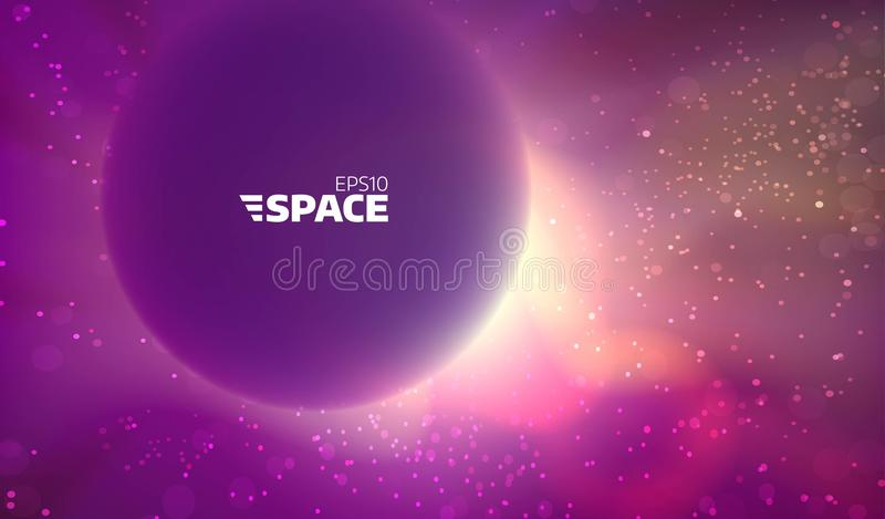 Colorful vector space background. Abstract nebula backdrop. Sun and star glowing vector illustration