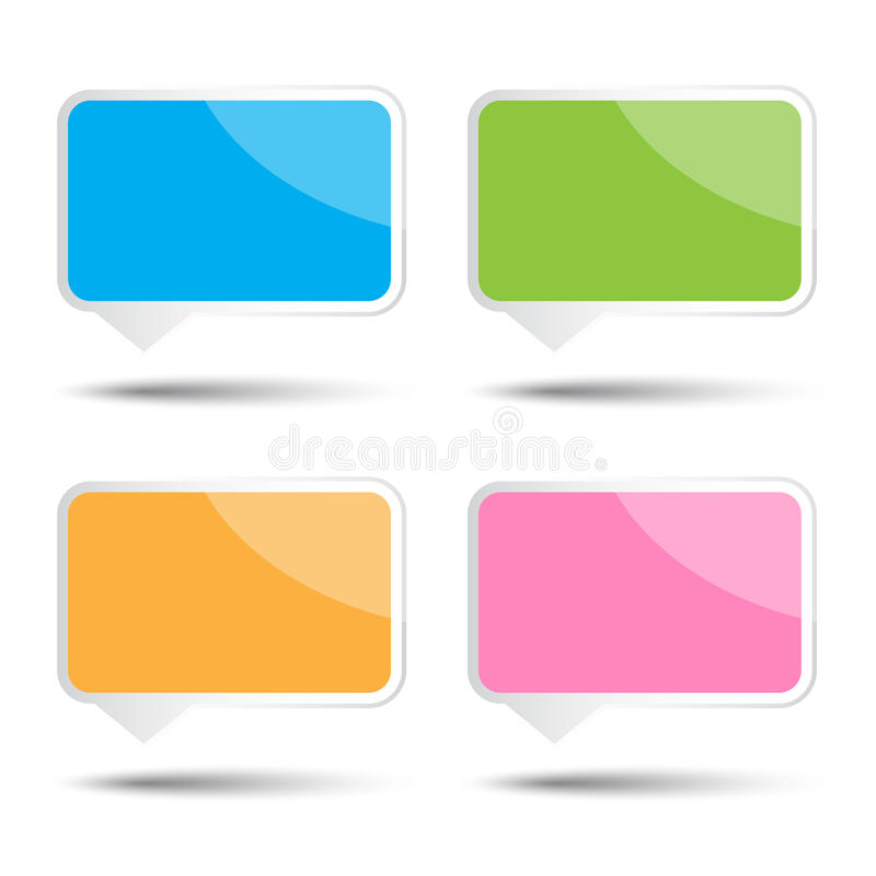 Colorful vector square bubble speech royalty free illustration