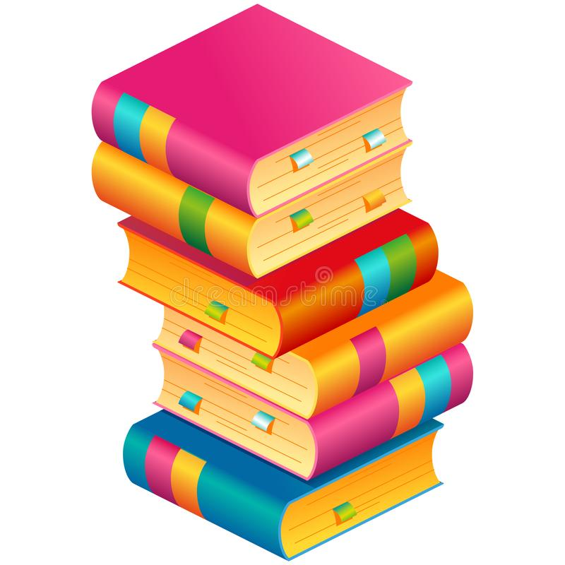 Colorful vector stack of books with bookmarks vector illustration